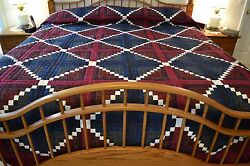 NEW Amish Handmade Quilted Log Cabin with a White Chain Through It  King 106x117