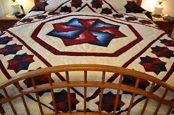 NEW Amish Handmade Quilted Star Spin 105x117 Very Lg Qn or King