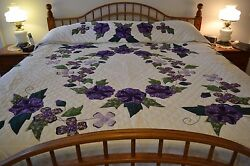 NEW Amish Handmade Quilted & Appliqued Morning Glory Garden 106x117 Lg Qn or Kng