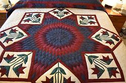 NEW Amish Handmade Quilted Improved Lone Star 105x115 Lg Qn or King