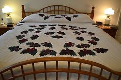 NEW Amish Handmade Quilted Appliqued Blooming Cactus Lg Qn or King 99x113