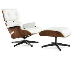 Eames Style Lounge Chair and Ottoman - Brown and White Leather