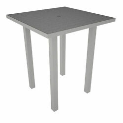 Polywood Euro 36-Inch Square Bar Height Patio Table - Silver Aluminum Frame