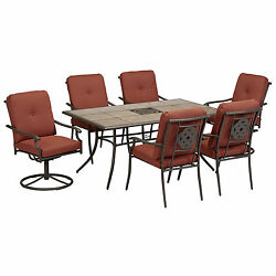 Outdoor 7-Piece Patio Furniture Set Vintage 4 Dining and 2 Swivel Chairs Table