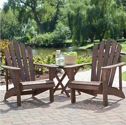 Adirondack Wood 3 Piece Furniture Set Yard Patio Deck 2 Chairs and 1 Table Brown