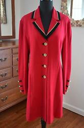 ST JOHN COLLECTION Red Knit Long Suit Blazer w Gold Chain Trim & Logo Buttons 12