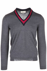 GUCCI MEN'S V NECK JUMPER SWEATER PULLOVER NEW GREY 8BC