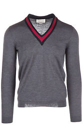 GUCCI MEN'S V NECK JUMPER SWEATER PULLOVER NEW GREY E0C
