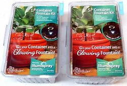 Lot of 2 POND BOSS DCFKL Patio Water Garden Container Fountain wLight Kits NEW