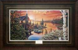 Large Framed Picture Autumn Evening Lake Boat Cabin Lake Log Home Wall Decor
