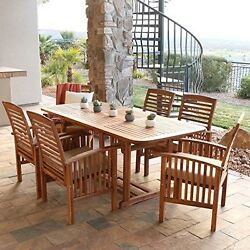 Solid Wood Dining Table Arm Chairs Cushions Patio Set 7 Piece Outdoor Furniture