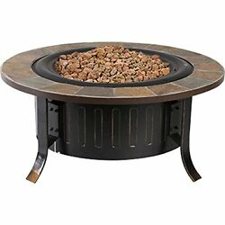 Outdoor Fire Pit Patio Yard Gas Heater Stone Campfire Deck Steel Glass Fireplace
