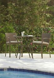 3 Pcs  Steel Frame Woven Bar Height Patio Balcony Bistro Set Outdoor Furniture