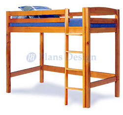 Twin Loft Bunk Bed Woodworking Plans Design #1203 Cutting List Included