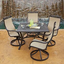 NEW 5pc Outdoor Sling Rocker Swivel Chair Dining Table Patio Furniture Set