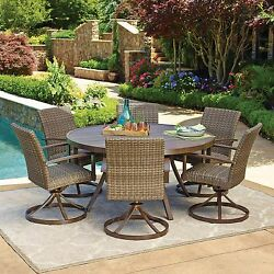 NEW 7p Outdoor Wicker Swivel Rocker Chair Round Dining Table Patio Furniture Set