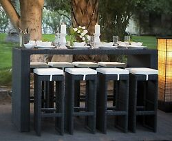 NEW 9 Piece Wicker Bar Outdoor Set Height Patio Dining Stools Deck Furniture