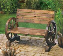 New Wood Wagon Wheel Bench Patio Yard Furniture Cabin Decor Log Home Lake Rustic