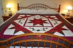 NEW Amish Handmade Quilted Framed Star 104x117 Lg Qn or King