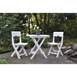 Outdoor Patio Set 1 Table 2 Chairs Garden Furniture Camping Quik-Fold Set White