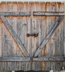 Rustic Barn Shed Farm Doors Country Decor Fabric Shower Curtain Old Wood Board