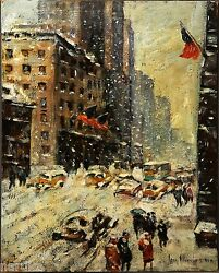 BIG SALE  GUY WIGGINS PAINTING GUARANTEED DONE BY WIGGINS BLIZZARD SCENE NY
