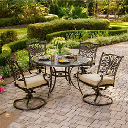 Outdoor Dining Bistro 5 Piece Swivel Rocker Chair Table Patio Deck Furniture New