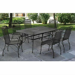 Outdoor Dining Patio Furniture Wrought Iron 7 Piece Table Chair Bistro Black
