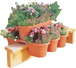 Bloem 21 in. 4-Piece Terra Cotta Plastic Milano RailModular Planter 4-Pack Pot
