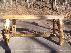 RUSTIC  LOG BenchTable  Reclaimed wood furniture Home Cabin Decor Live Edge