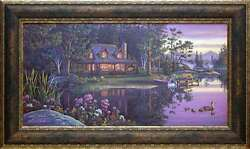 Wall Art Golden Moment Cabin Decor Framed Picture Log Home Lake Home 15 x 41