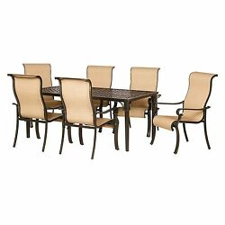 NEW 7pc Outdoor Sling Chair Cast Aluminum Dining Table Patio Furniture Set