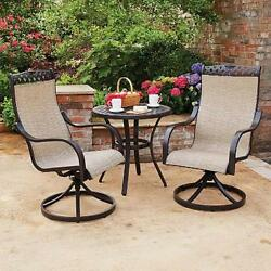 NEW 3pc Outdoor Sling Rocker Swivel Chair Bistro Table Patio Furniture Set