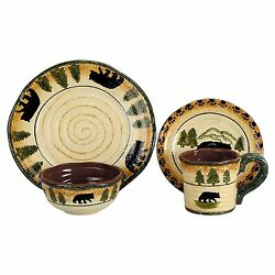 Wildlife Dinnerware Sets Rustic Cabin Lodge Wilderness Nature Casual Everyday