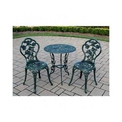 Patio Outdoor Furniture Set 3 Piece Bistro Wrought Iron Small Table Chairs Rose