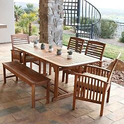 Wood Patio Dining Set 6-Piece Outdoor Acacia Seats Bench Garden Deck Cushions Us