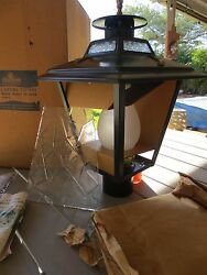 NIBVintageNew Colonial Style Post Lamp By Harmony House Glass Panels