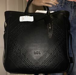 LIMITED & NWT! COACH TOOLING TALL LEATHER TATUM BLACK TOTE BAG PURSE 33925 RARE