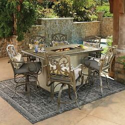 NEW 7pc Outdoor Cushioned Bar Stool Chair Firepit Dining Table Patio Furniture