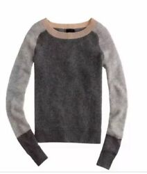 J Crew Waffle Color Block Cashmere boat-neck Sweater Orig $389 NWT XXS