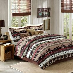 Cal King Comforter Set 7 Pc Rustic Lodge Wilderness Nature Cabin Bear Wildlife