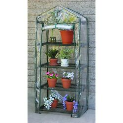 5 ft 4-Tier Steel Greenhouse w clear PVC Dual Zipper Cover (63