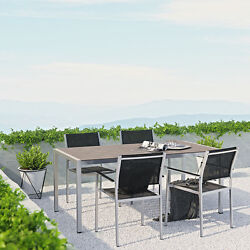 THE MODENZO 5 Pc Patio Mesh Chair Plastic Wood Table Aluminum Outdoor Dining Set