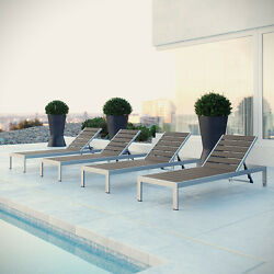 THE MODENZO  Set of 4 Patio Aluminum Chaise Outdoor Furniture Decor