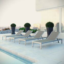 THE MODENZO  Set of 4 Patio Aluminum Chaise PE Rattan Outdoor Furniture