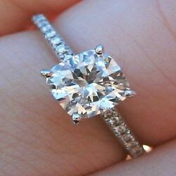 GIA 1.70 Ct Cushion Cut Diamond French Pave Engagement Ring F VS2 Conflict Free