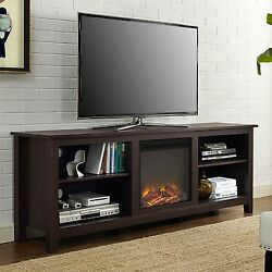 Electric Fireplace Entertainment Center Espresso Wood TV Stand Heater Adjustable