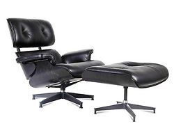 Eames Style Lounge Chair and Ottoman Black 100% Italian Leather Ebony Plywood