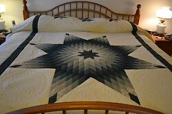 NEW Amish Handmade Quilted Lone Star Queen 91x108