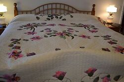 NEW! Amish Handmade Quilted & Appliqued Spring Orchids Lg Queen or King94x112